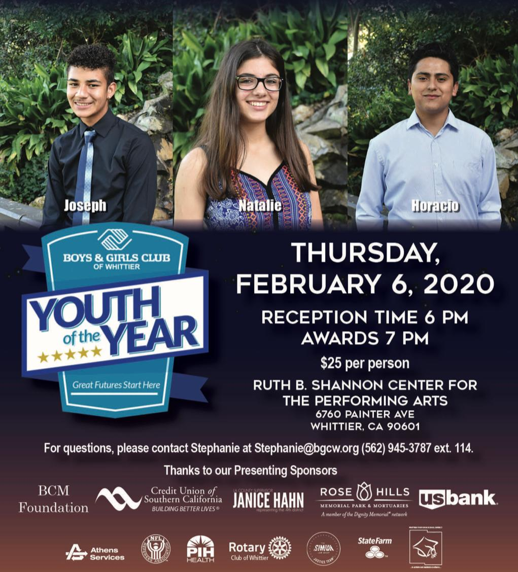 Youth of the Year Flyer with three nominees and sponsor names